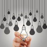 Hand drawing graphic pencil  light bulb Royalty Free Stock Photos
