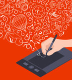Hand drawing on the graphic tablet Stock Images