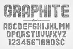 Hand drawing graphite pencil font for chalkboard, pub and bar de Royalty Free Stock Photos