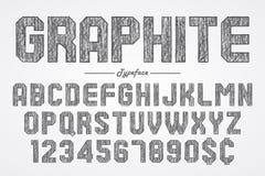 Hand drawing graphite pencil font for chalkboard, pub and bar de. Sign. Vector illustration vector illustration