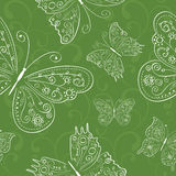 Hand drawing green seamless abstract butterflies o Royalty Free Stock Photos