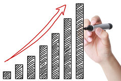 Hand drawing growing bussiness graph. With black marker on the transparent board Royalty Free Stock Image