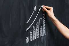 Hand drawing growth chart on blackboard Stock Images