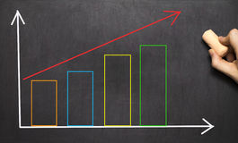 Hand drawing growth graph for business Royalty Free Stock Images