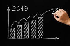 Growth Graph Year 2018 Blackboard Concept Stock Image