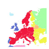 Hand drawing grunge Europe map isolated. Hand drawing grunge colorful Europe map isolated on white Stock Photos