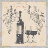 Hand drawing grunge  vintage label wine bottle, glasses , grapes, banner.vector illustration Stock Images