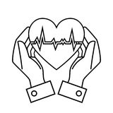 Hand drawing hand hold heart rate design Stock Images