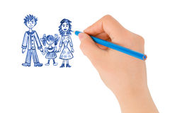 Hand drawing happy family Royalty Free Stock Photography