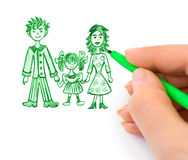 Hand drawing happy family Royalty Free Stock Photo