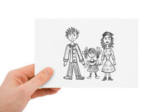 Hand with drawing happy family Royalty Free Stock Photos
