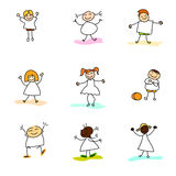 Hand drawing happy kids Royalty Free Stock Photography