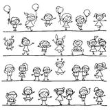 Hand drawing happy kids Stock Photos