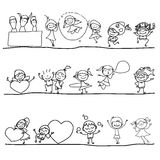 Hand drawing happy kids Royalty Free Stock Photos