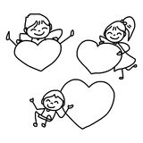 Hand drawing happy kids Stock Photography
