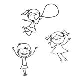 Hand drawing happy kids Royalty Free Stock Photo