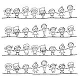 Hand drawing happy kids Royalty Free Stock Images