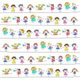 Hand drawing happy kids. Hand drawing cartoon happy kids vector eps 10 vector illustration