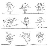Hand drawing happy kids. Hand drawing cartoon happy kids vector eps 10 stock illustration