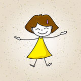 Hand drawing happy kids Royalty Free Stock Image