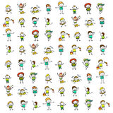 Hand drawing happy kids Stock Images
