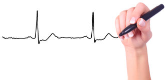 Hand drawing heart beat Stock Images