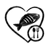 Hand drawing heart fish food health Stock Photo