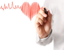 Hand drawing heart with marker Royalty Free Stock Image