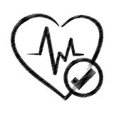 Hand drawing heart rate ok health Royalty Free Stock Photo