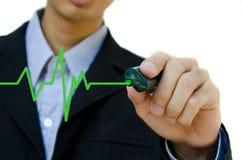 Hand drawing heartbeat symbol. Man Hand drawing heartbeat symbol Vector Illustration