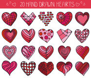 Hand drawing hearts doodle set.Colored geometric Stock Images