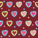 Hand-drawing hearts seamless pattern abstract background on dark cover for use in design for valentines day or wedding card Royalty Free Stock Photography