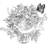Hand drawing heraldic cartouche. Black and white. Flower mandala. Royalty Free Stock Photos