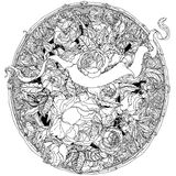 Hand drawing heraldic cartouche. Black and white. Flower mandala. Royalty Free Stock Image