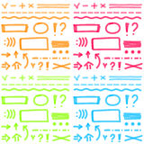 Hand drawing highlighter elements for select and Royalty Free Stock Photos