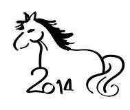 Hand drawing horse Illustration. Happy new year 2014, Hand drawing horse Illustration Stock Photos