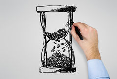 Hand drawing hourglass Royalty Free Stock Photography