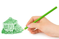 Hand drawing house Stock Photography