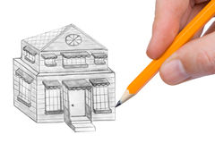 Hand drawing house Royalty Free Stock Photos