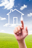 Hand drawing house on blue sky Royalty Free Stock Images