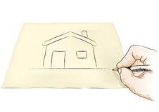 Hand drawing house Royalty Free Stock Images