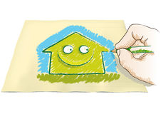 Hand drawing house Royalty Free Stock Photography