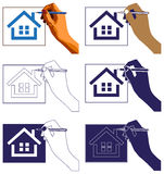 Hand drawing house Stock Photo