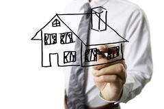 Hand drawing  house. Man hand drawing a house Royalty Free Stock Image