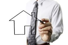 Hand drawing  house. Man hand drawing a house Stock Image