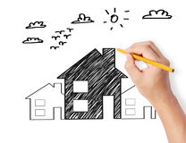 Hand drawing a house Royalty Free Stock Images