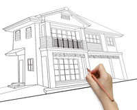 Hand drawing house model  development concept. Stock Photography