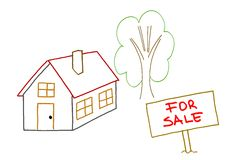 Hand drawing house for sale Stock Image