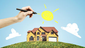 Hand drawing house Stock Photos