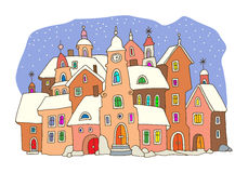 Hand drawing houses. Cartoon hand drawing color houses vector illustration